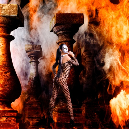 beautiful fantasy art of a nude girl in flames Stock Photo - 9408149