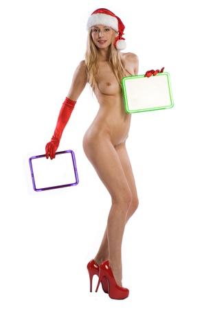 sexy santa m�dchen: sexy nude Weihnachten-Girl holding eine wei�e Tafel oder Zeichen in ihre H�nde auf Hexe schreiben Sie Ihren Text