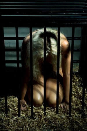 bondage art style with a beautiful nude slave girl locked in a cage with black bars and her naked body and make up is looking dirty Stock Photo - 10039396