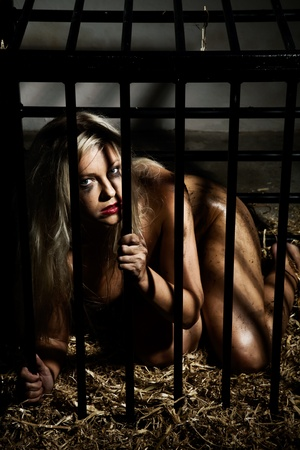 bondage art style with a beautiful nude slave girl locked in a cage with black bars and her naked body and make up is looking dirty Stock Photo - 10039399