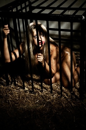 bondage art style with a beautiful nude slave girl locked in a cage with black bars and her naked body and make up is looking dirty Stock Photo - 10039385