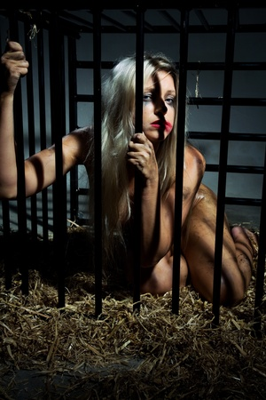 bondage art style with a beautiful nude slave girl locked in a cage with black bars and her naked body and make up is looking dirty Stock Photo - 10039378