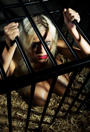 bondage art style with a beautiful nude slave girl locked in a cage with black bars and her naked body and make up is looking dirty Stock Photo - 10039388