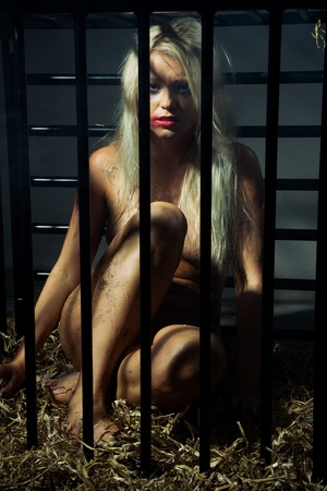 bondage art style with a beautiful nude slave girl locked in a cage with black bars and her naked body and make up is looking dirty Stock Photo - 10039384