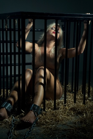 bondage art style with a beautiful nude slave girl locked in a cage with black bars and her naked body and make up is looking dirty and her feet are shackled with cuffs Stock Photo - 10039383