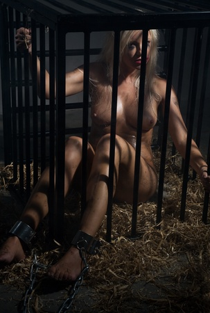 bondage art style with a beautiful nude slave girl locked in a cage with black bars and her naked body and make up is looking dirty and her feet are shackled with cuffs Stock Photo - 10039386