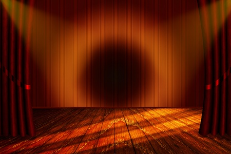 theater with a stage and old red curtain with yellow light and wooden floor photo