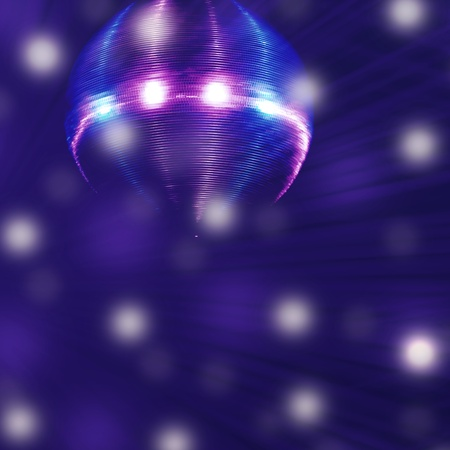 dance theater with a disco ball and stage lights in soft blue smoke photo
