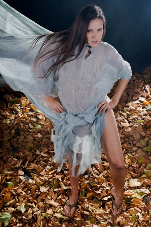 very sexy witch dressed up in halloween gothic style with a shine through dress in a forrest covered in smoke photo