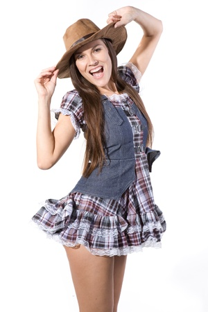 very beautiful and sexy country and western girl in line dance theme photo