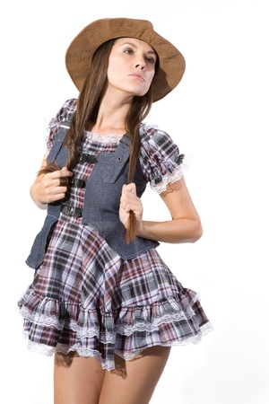 very beautiful and sexy country and western girl in line dance theme Stock Photo - 10868574