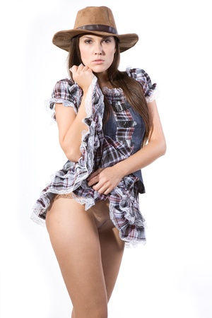 country girls: very beautiful and half nude country and western girl in line dance theme Stock Photo
