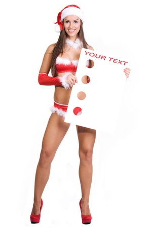 very sexy christmas girl holding empty white board in her hands on wich you can write your text on Stock Photo - 11277340