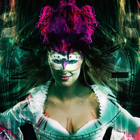 new year party background in fantasy style with venetian masked woman and the clock is shining through photo