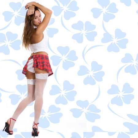 skirts: Mujer hermosa y muy sexy en la Escuela del Partido uniforme Foto de archivo