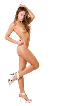 nude: beautiful and very sexy nude woman on a white background