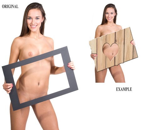 very beautiful fully nude woman holding a presentation board in her hands, this image can be made very easy as sexy as you want it, just fill in or resize te board. look at the example