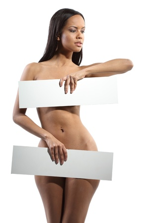 natural nude beauty holding a empty  board in her hands on which you can write your text on.  Added no colorchanges, contrast etc..