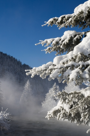 skie: beautiful image of a cold winter scene with mountains and snow and a wild river