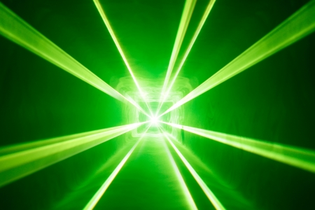 laser light: green laser light background with smoke