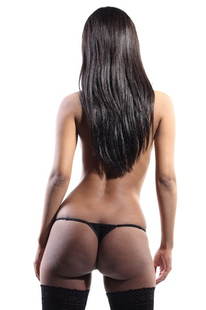 beautiful woman pose shot from behind in lingerie showing her sexy ass  Stock Photo