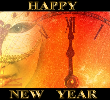 happy new year in golden text with a party background with venetian masked woman and clock in old grain paper style