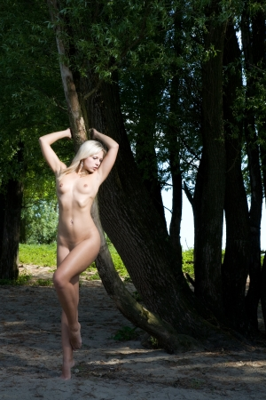 beautiful sexy and naked woman standing under a tree Stock Photo - 14795122