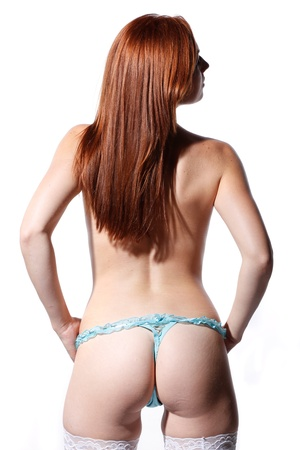 topless: very sexy woman is showing her beautiful ass