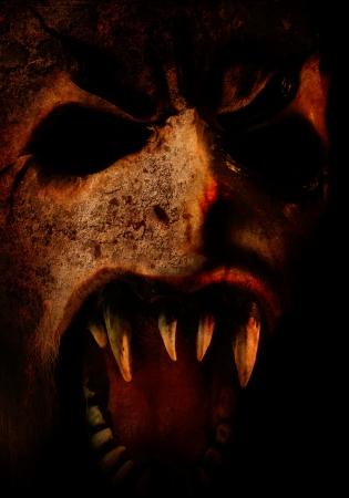 infierno: horror Scary cara para que la fiesta de Halloween o la oscuridad Foto de archivo