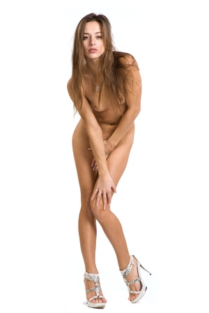 naked women body: beautiful and very sexy nude woman on a white background