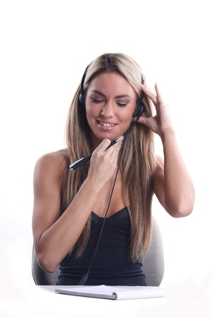 very beautiful woman in communication or business style with headset and microphone Stock Photo - 16714826