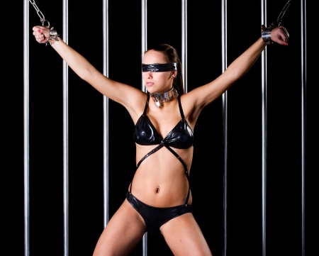bondage style with  a very sexy woman dressed in lingerie Stock Photo - 16889725