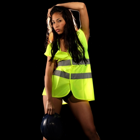 Very beautiful and sexy working woman wearing 