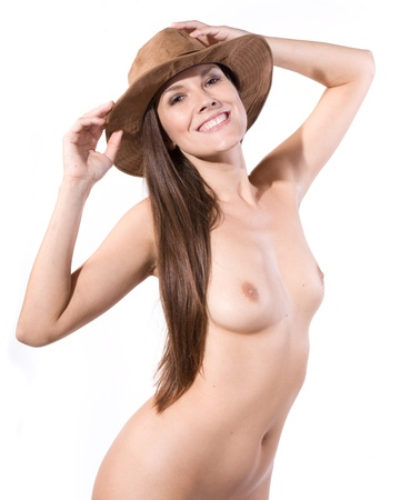 hat nude: beautiful top model full nude wearing only a soft suede hat isolated on white background Stock Photo