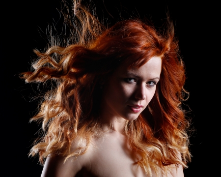 czech women: a very beautiful portrait of a sexy woman with red hair Stock Photo