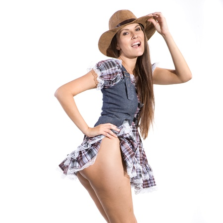half nude: very beautiful sexy and half nude country and western woman in line dance theme Stock Photo