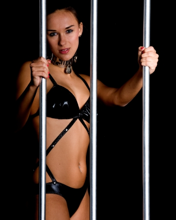beautiful woman in lingerie in bondage style photo