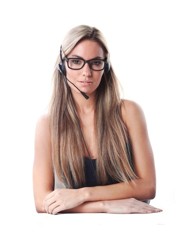 very beautiful woman is working as a secretary in communication or business style with headset and microphone