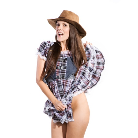 very beautiful sexy country and western woman in line dance theme Stock Photo - 19590337