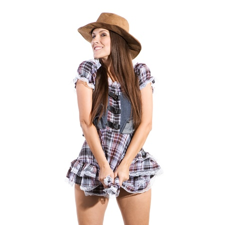 very beautiful sexy country and western woman in line dance theme photo