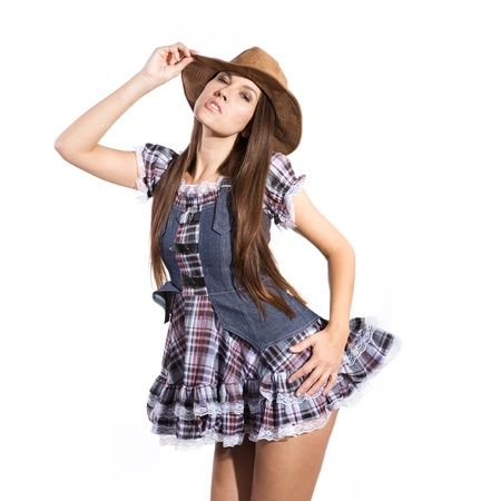 very beautiful and sexy country and western girl or woman in line dance theme Stock Photo - 19590338