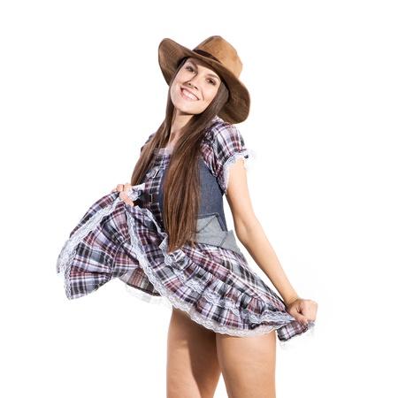 vaquero: pa�s muy hermoso y sexy mujer occidental en el tema de la danza line Foto de archivo