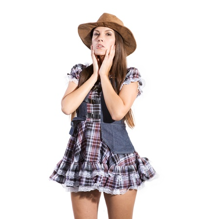 very beautiful and sexy country and western girl or woman in line dance theme photo