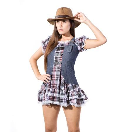 very beautiful country and western girl in line dance theme photo