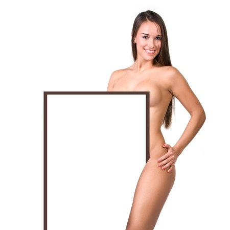 very beautiful fully nude woman holding a presentation board in her hands photo
