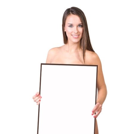 very beautiful woman behind a presentation or billboard on were you can write your text on photo