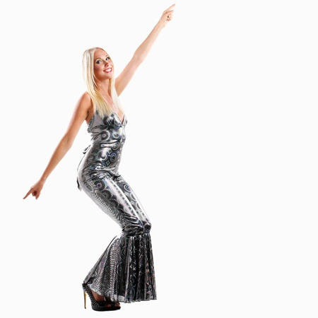90s: sexy blonde woman is screaming and in her glitter dance catsuit on a white background