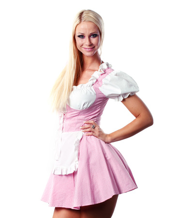 very beautiful caucasian white woman in tiroler or oktoberfest style photo