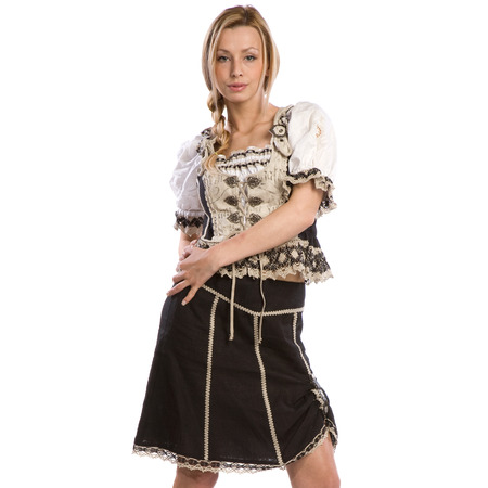 very beautiful caucasian white woman in traditional tiroler costume or outfit photo