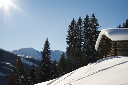 skie: mountain view from gerlos austria in the winter with snow and clear blue sky